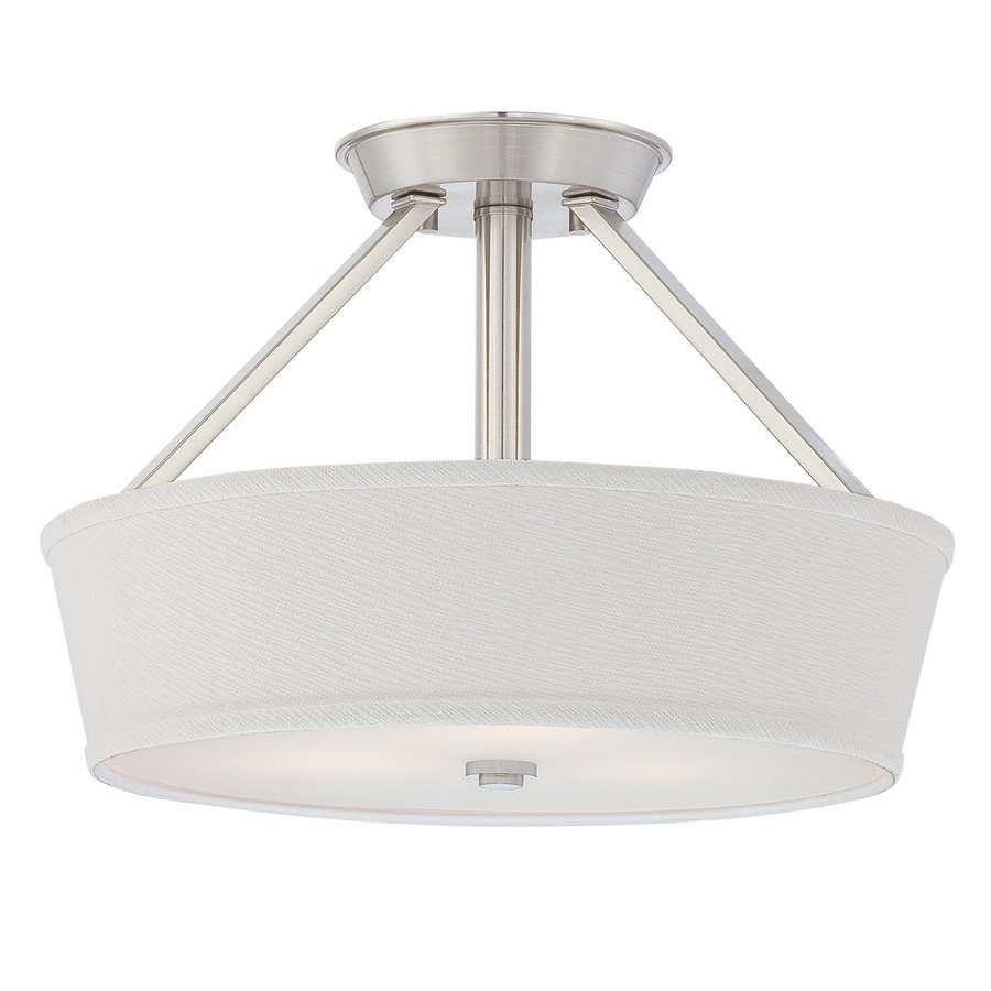Quoizel Waverly 16-in W Brushed Nickel Fabric Semi-Flush Mount Light