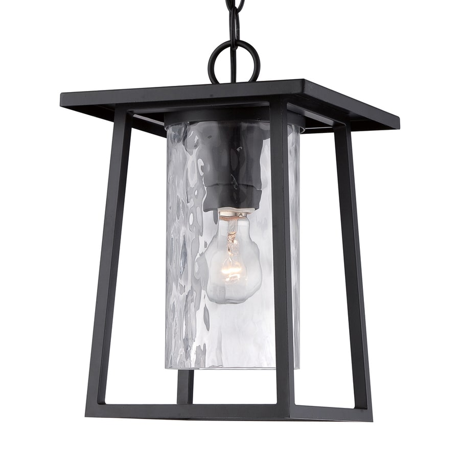 Outdoor Hanging Lanterns Lowes: Quoizel Lodge Mystic Black Transitional Clear Glass