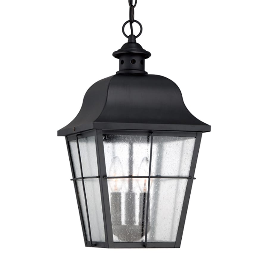 Outdoor Hanging Lanterns Lowes: Quoizel Millhouse Mystic Black Traditional Seeded Glass