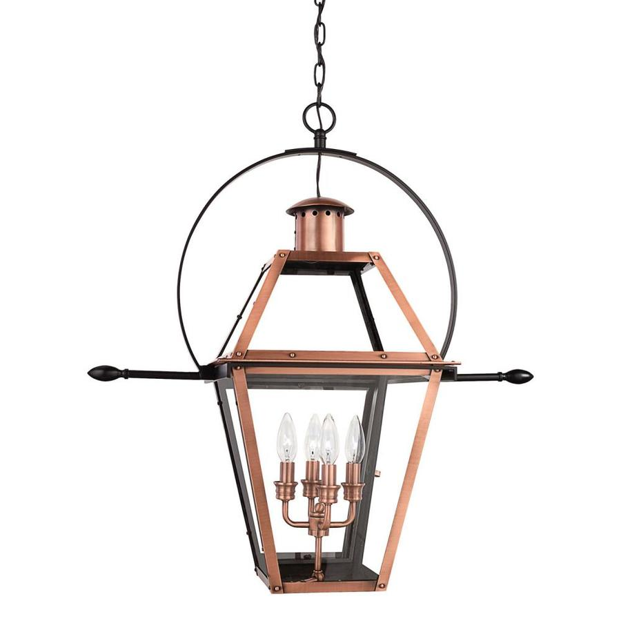 Shop quoizel rue de royal 29 5 in aged copper outdoor for Hanging outdoor light fixtures