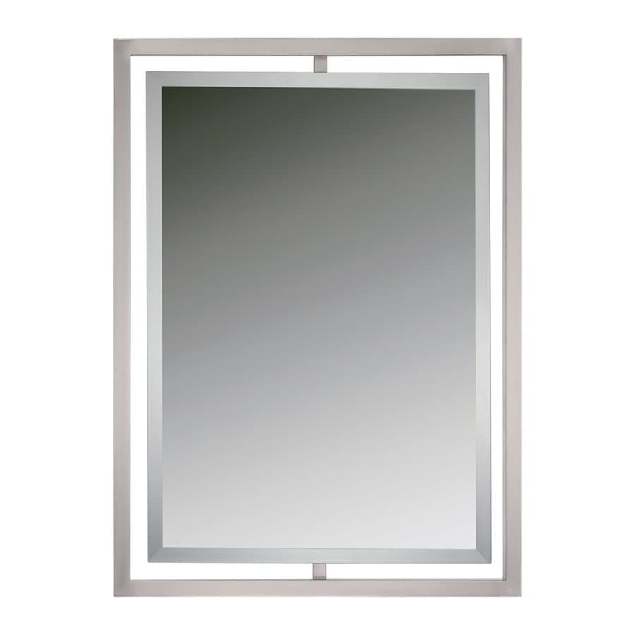 Quoizel Reflections 24-in x 32-in Brushed Nickel Beveled Rectangle Framed Contemporary Wall Mirror