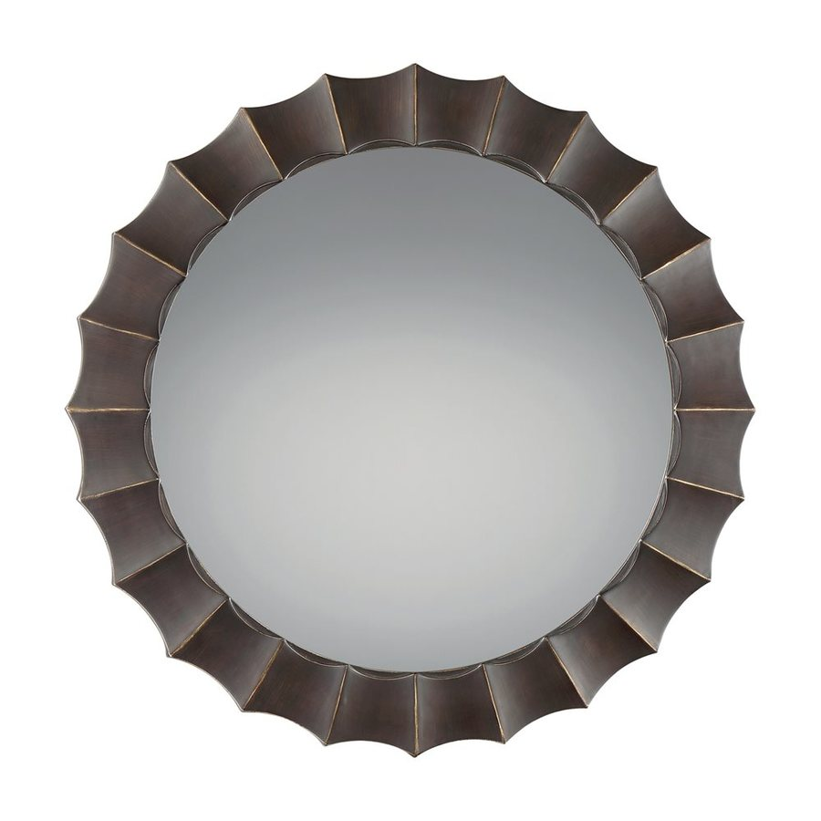 Quoizel Reflections 42-in x 42-in Palladian Bronze Beveled Round Framed Transitional Wall Mirror