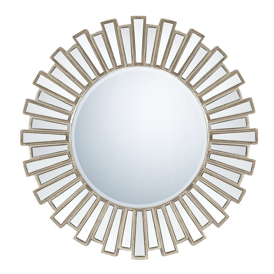 Quoizel Reflections Antique Silver Beveled Round Wall Mirror