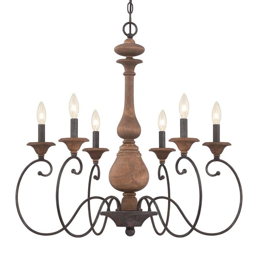 Quoizel Auburn 28-in 6-Light Rustic Black Williamsburg Candle Chandelier