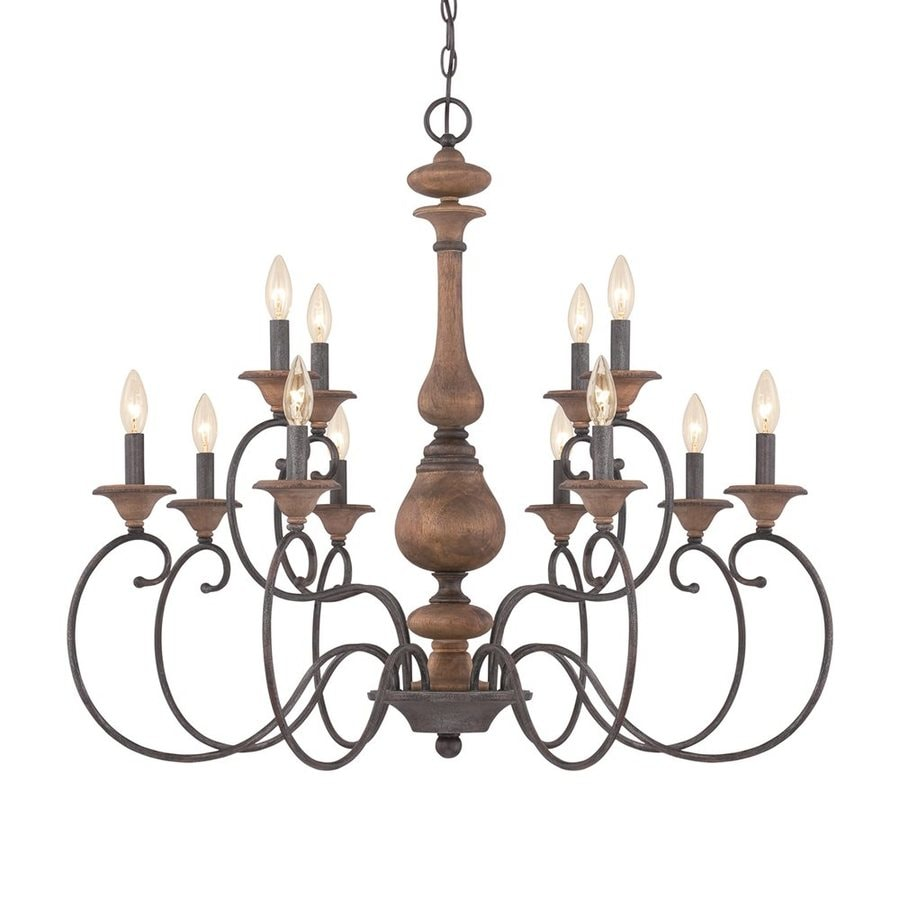 Quoizel Auburn 36-in 12-Light Rustic Black Williamsburg Candle Chandelier