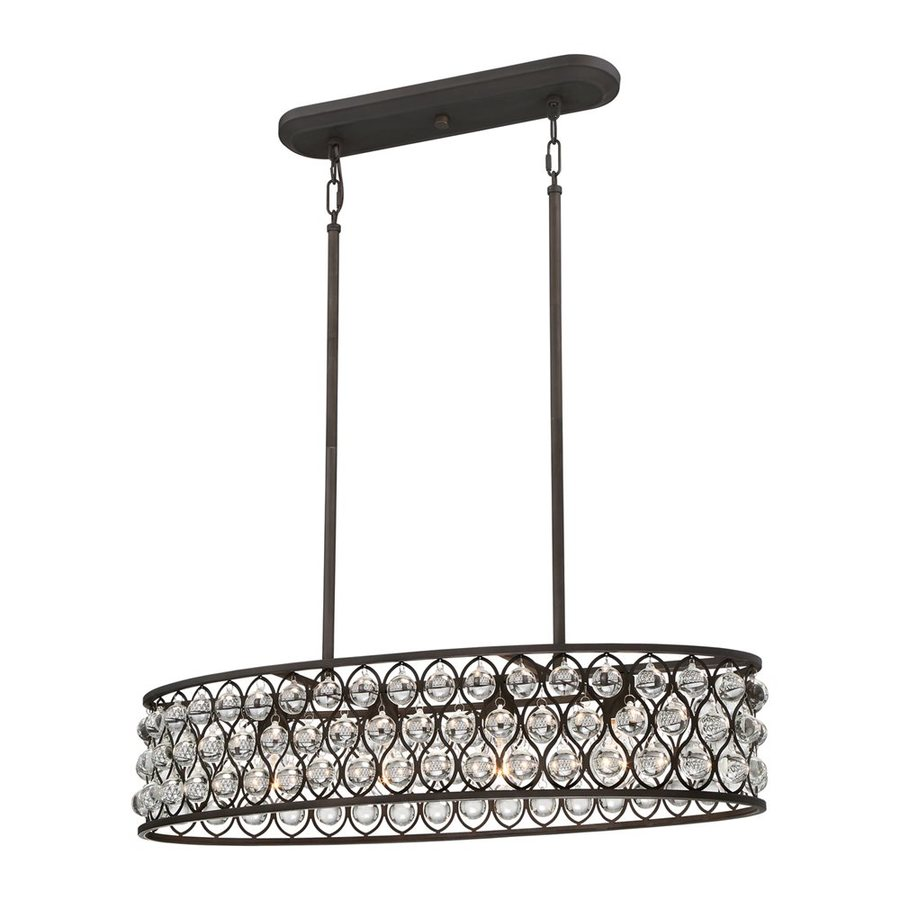 Quoizel Alexandria 33.5-in W 4-Light Palladian Bronze Kitchen Island Light with Clear Shade