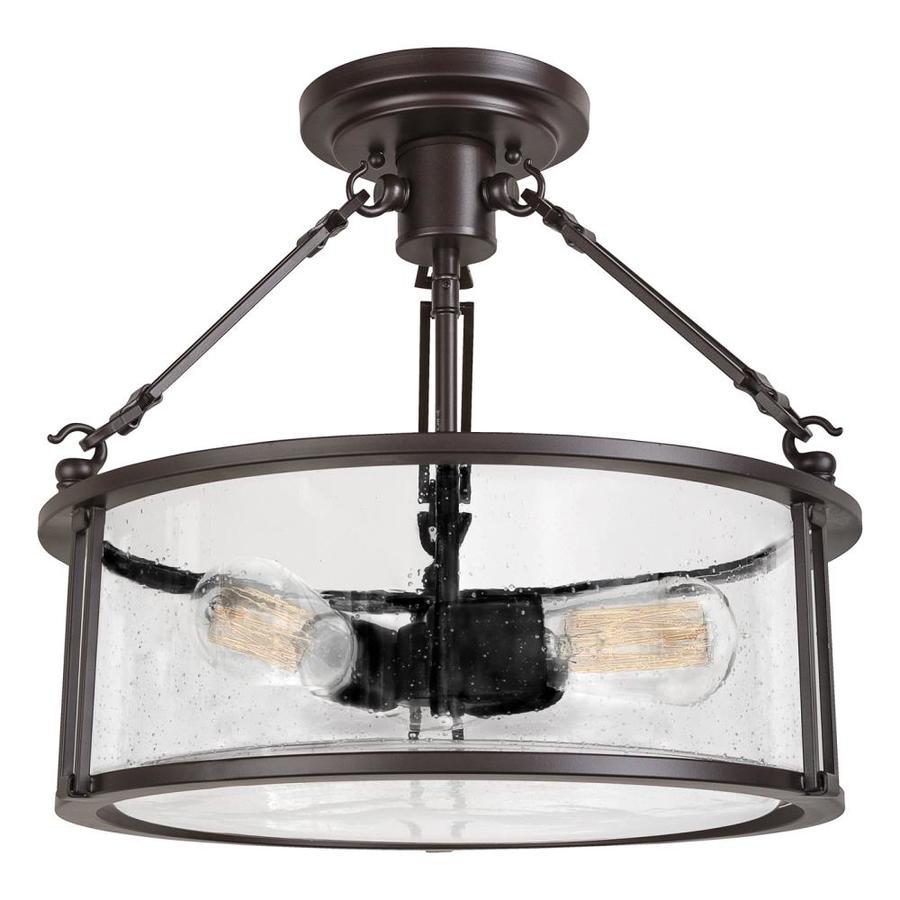 Quoizel Buchanan 16-in W Western Bronze Clear Glass Vintage Semi-Flush Mount Light