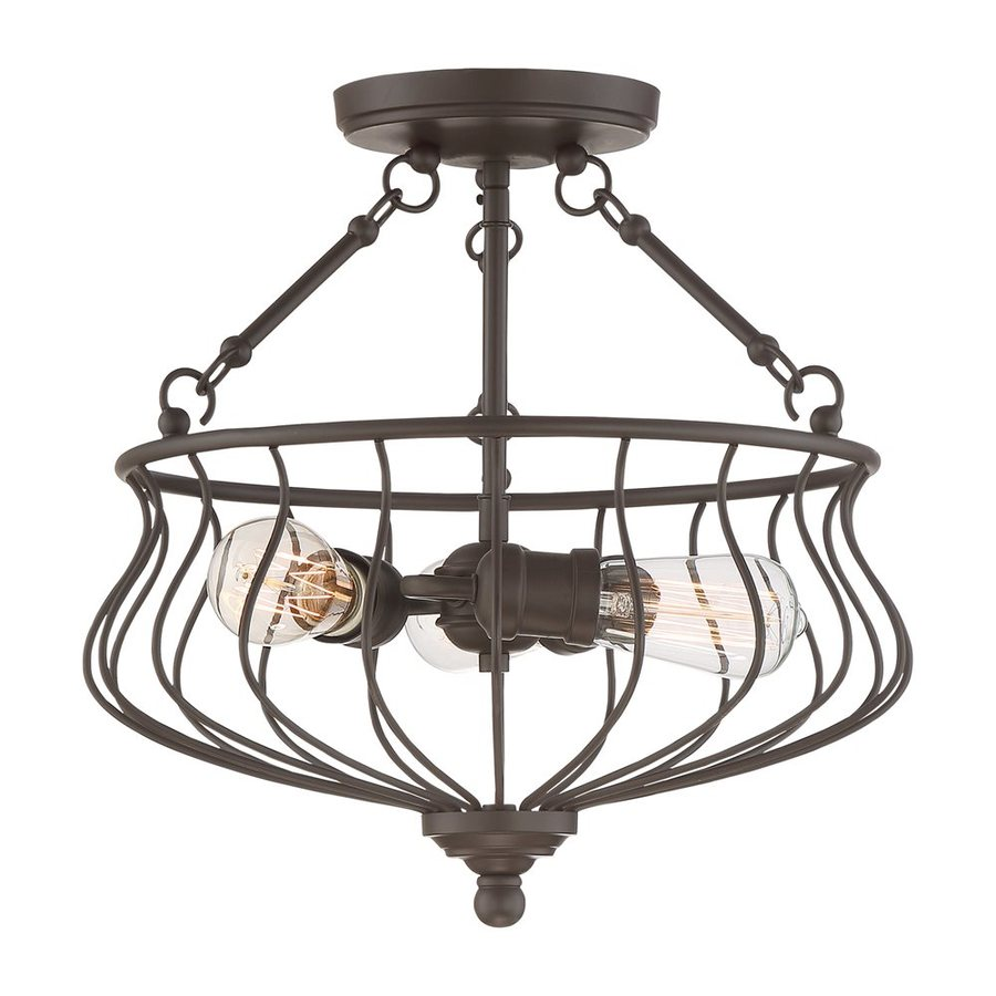 Quoizel Baroness 15.25-in W Western Bronze Glass Vintage Semi-Flush Mount Light