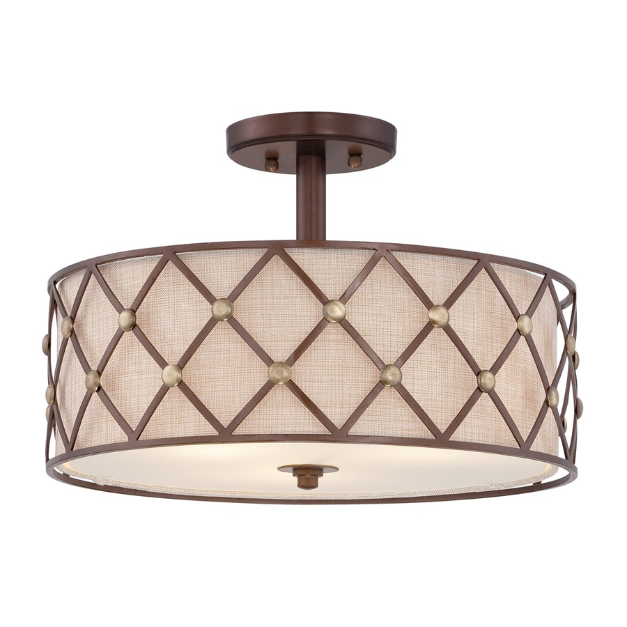 Quoizel Brown Lattice 17-in W Copper canyon Fabric Semi-Flush Mount Light
