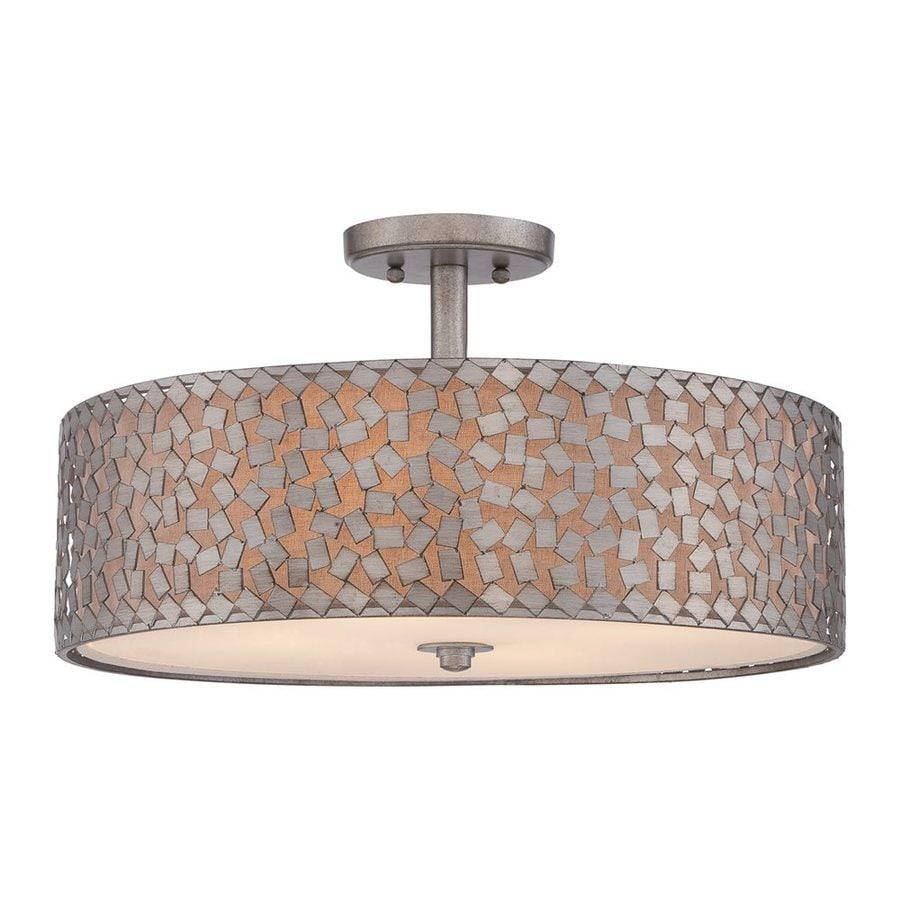 Quoizel Confetti 20-in W Old Silver Fabric Semi-Flush Mount Light