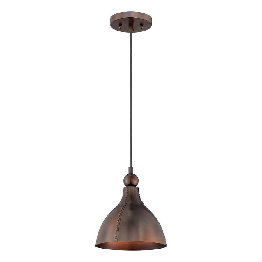 Quoizel Gaston 9-in Mottled Bronze Barn Mini Bell Pendant
