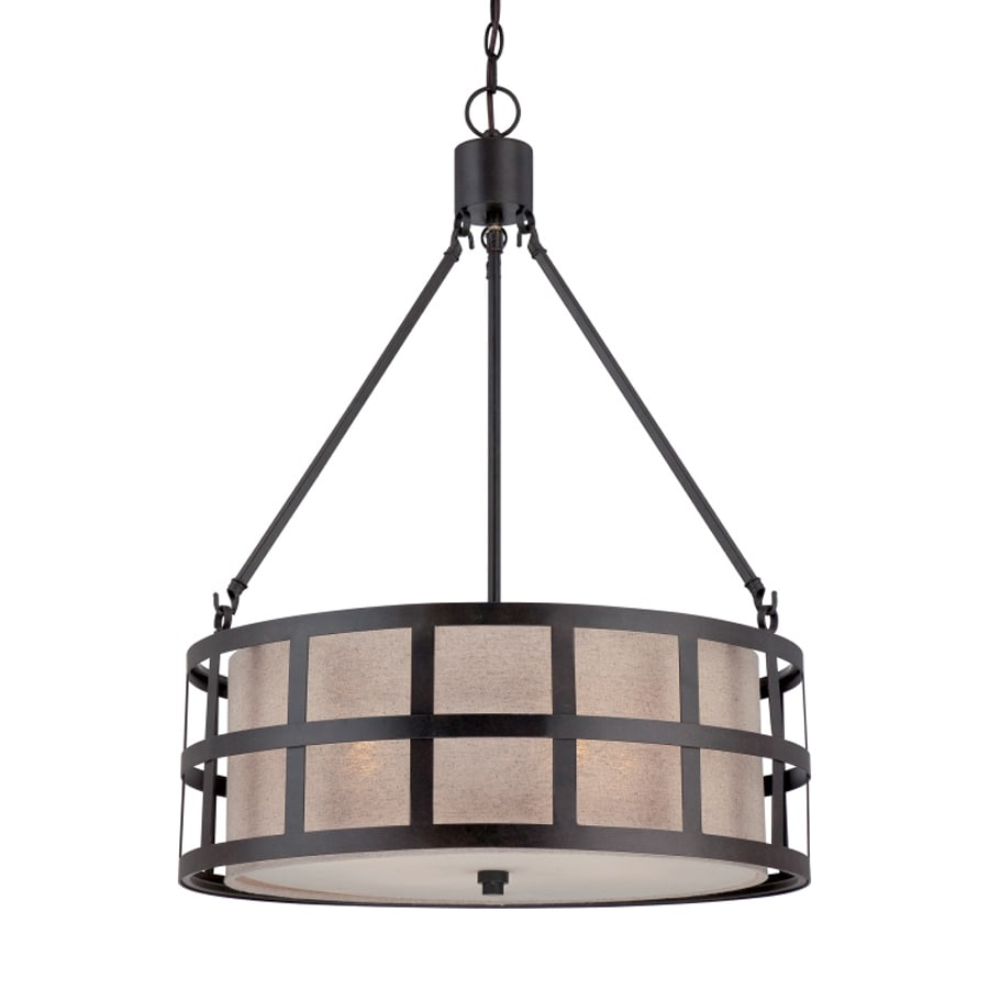 Quoizel Marisol 22-in Teco Marrone Craftsman Single Drum Pendant