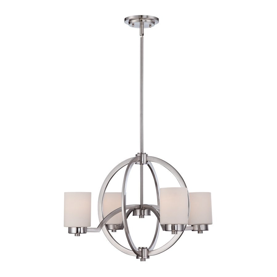 Quoizel Celestial 25-in 4-Light Brushed nickel Etched Glass Shaded Chandelier