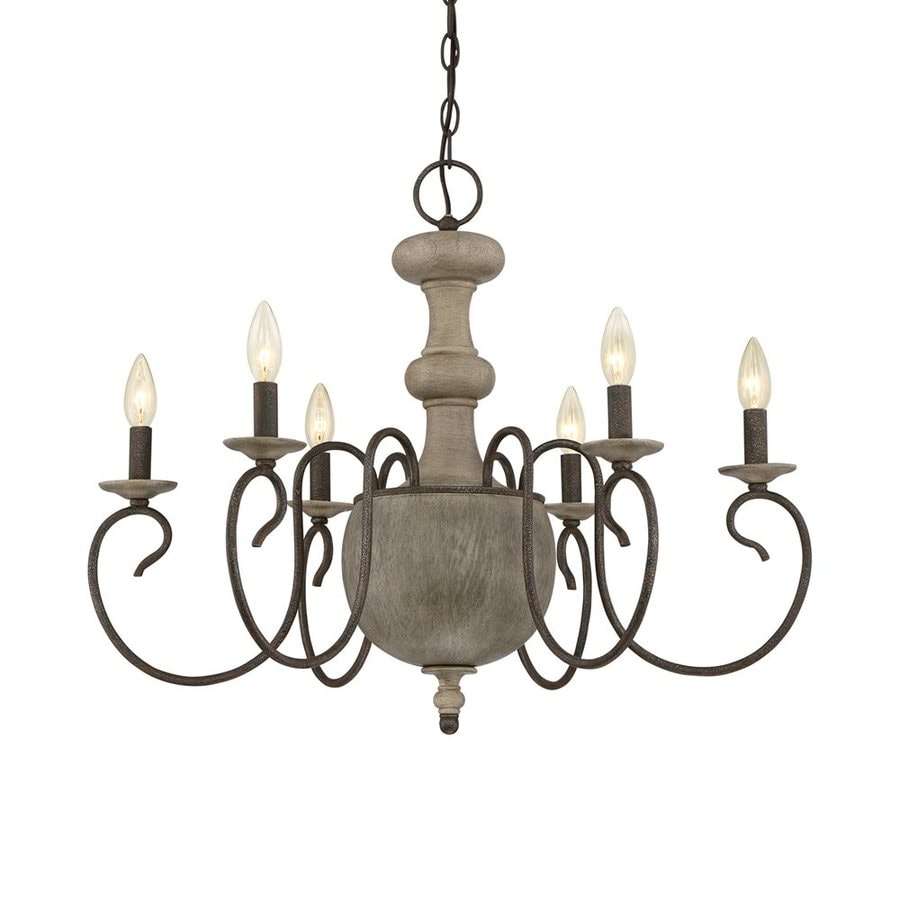 Quoizel Castile 28-in 6-Light Rustic Black Williamsburg Candle Chandelier