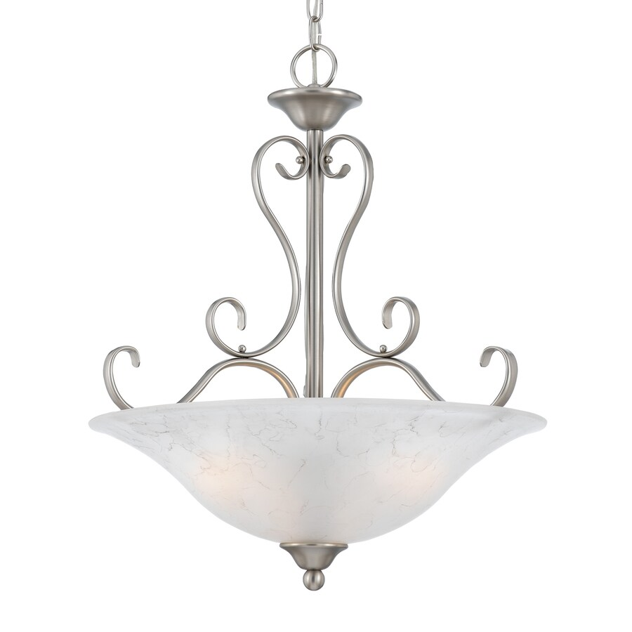 Quoizel Duchess 20-in Antique Nickel Vintage Single Marbleized Glass Bowl Pendant