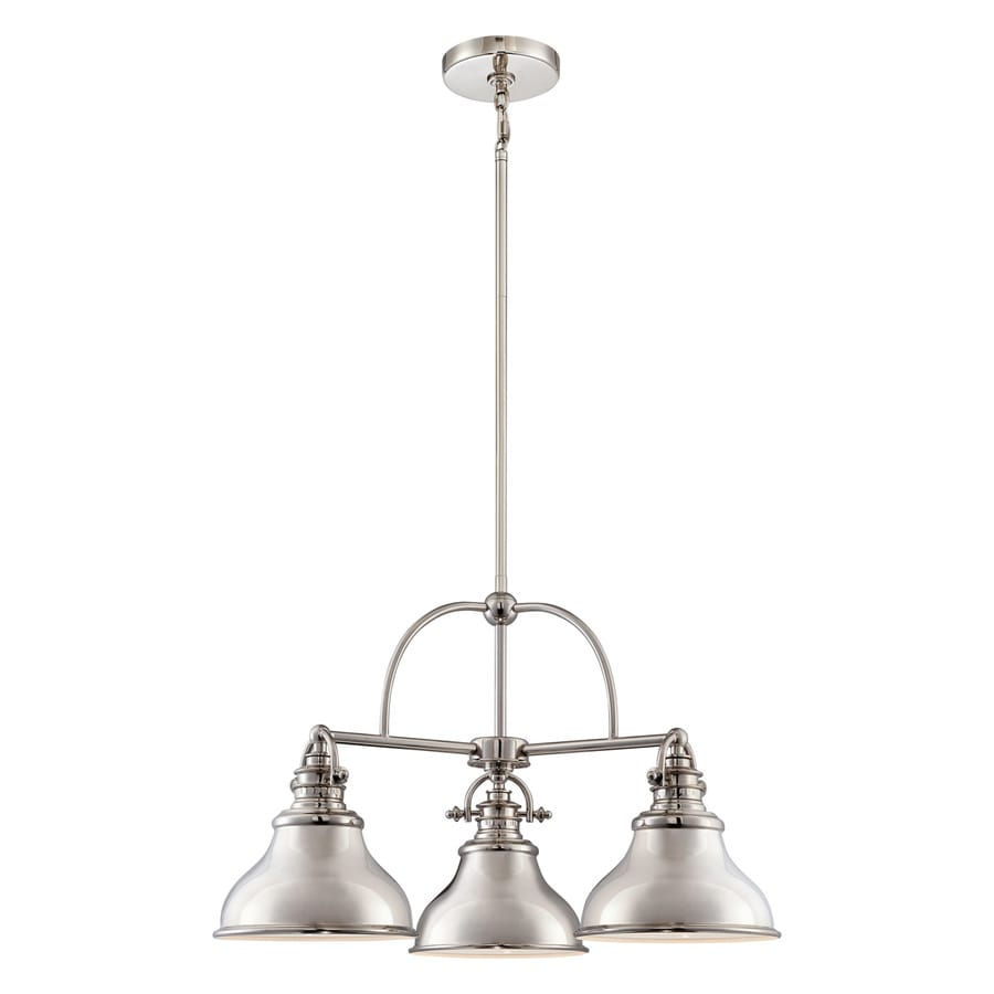Quoizel Emery 24-in 3-Light Imperial silver Industrial Shaded Chandelier