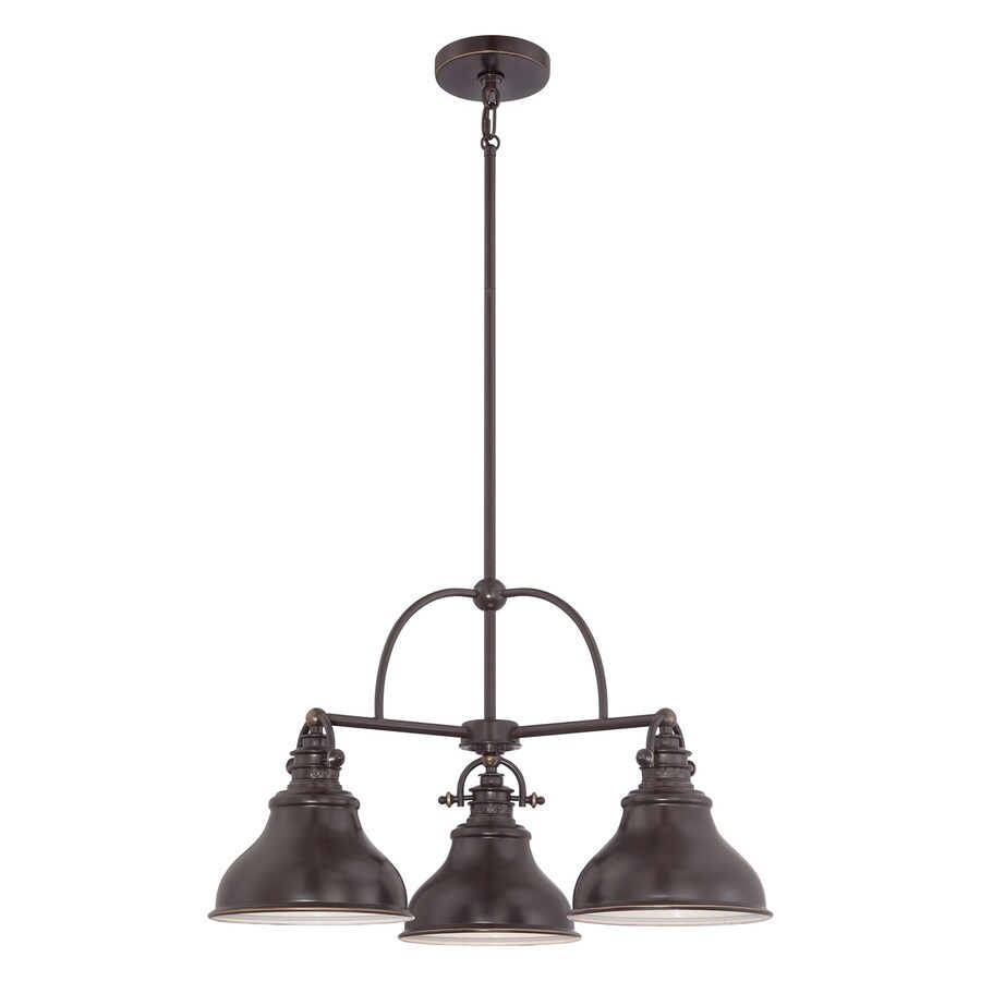 Quoizel Emery 24-in 3-Light Palladian bronze Industrial Shaded Chandelier