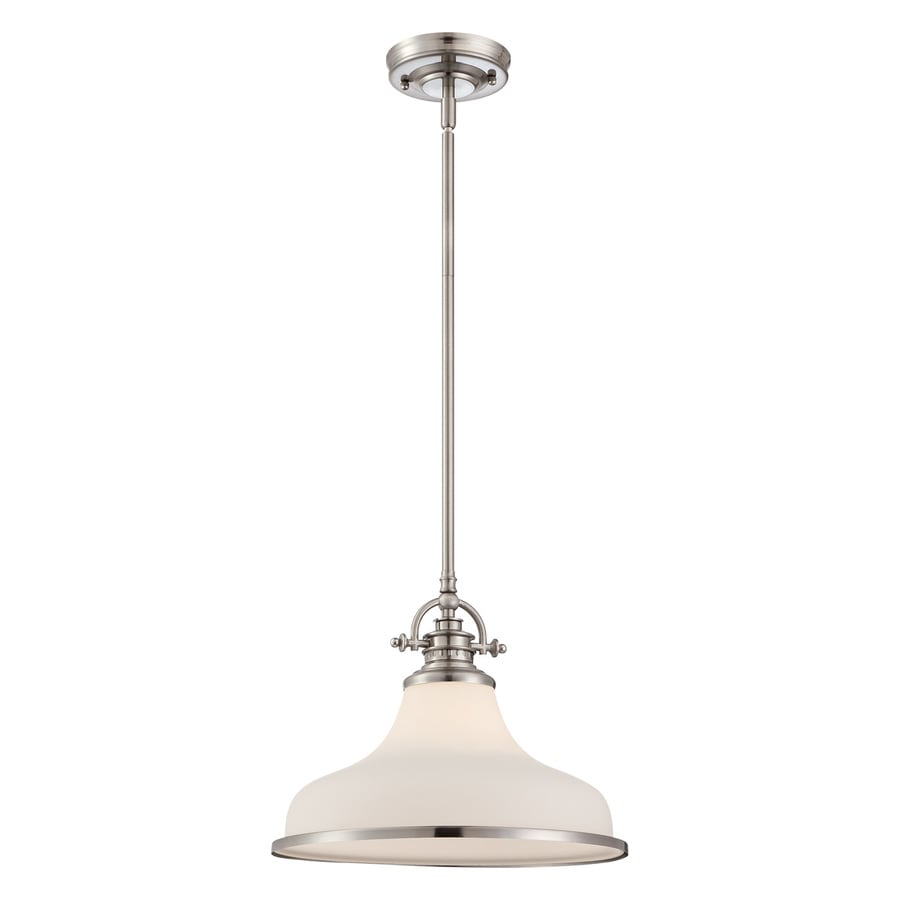 Quoizel Grant 13.5-in Brushed Nickel Vintage Single Etched Glass Warehouse Pendant