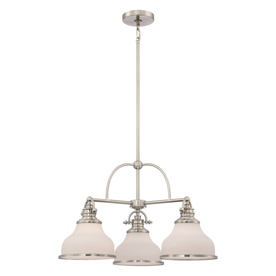 Quoizel Grant 24-in 3-Light Brushed nickel Industrial Etched Glass Shaded Chandelier