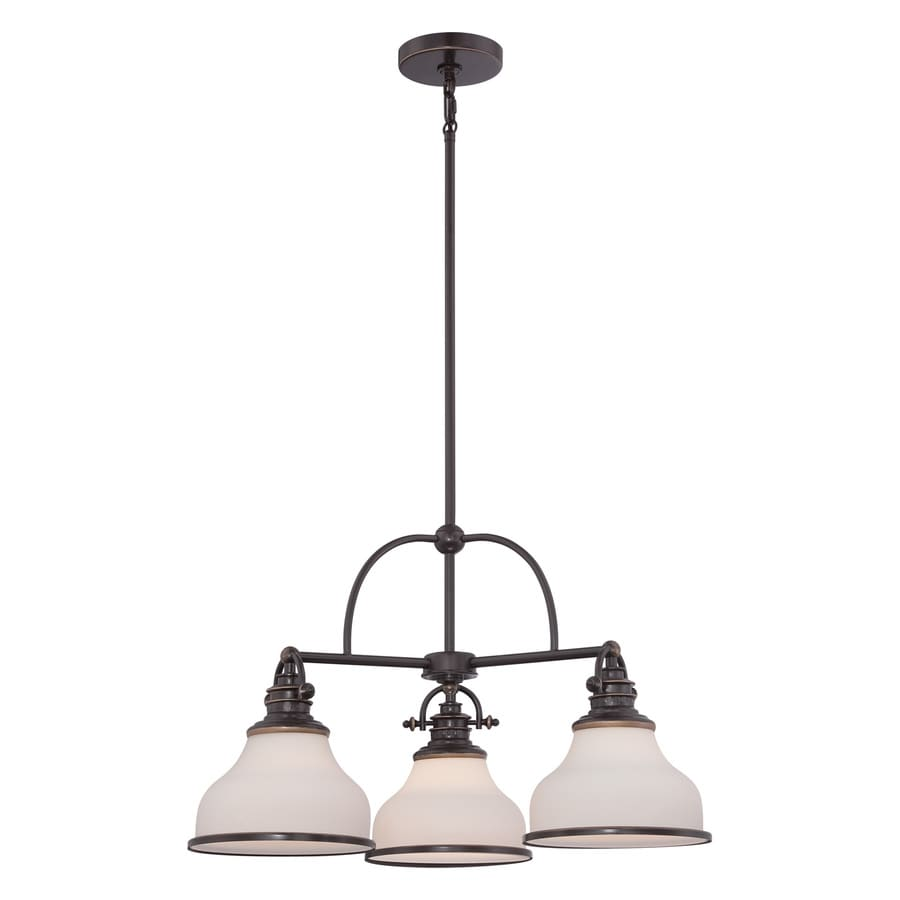Quoizel Grant 24-in 3-Light Palladian Bronze Industrial Etched Glass Shaded Chandelier