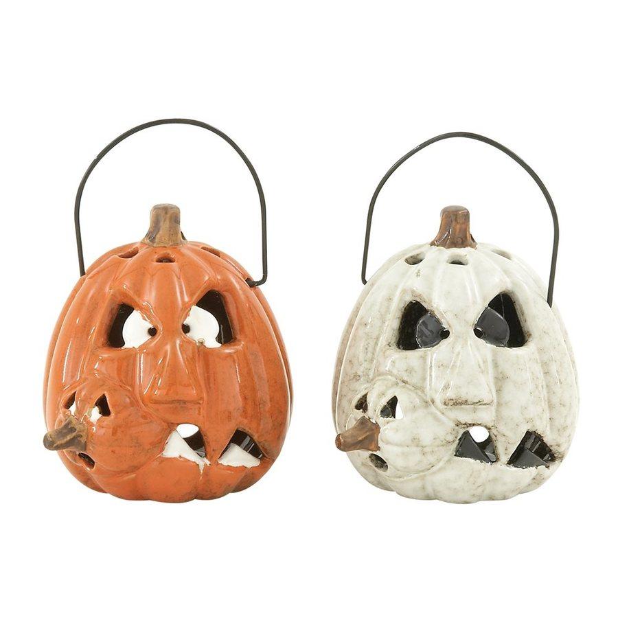 Woodland Imports Freestanding Pumpkin Candle Holder (Set of 2)