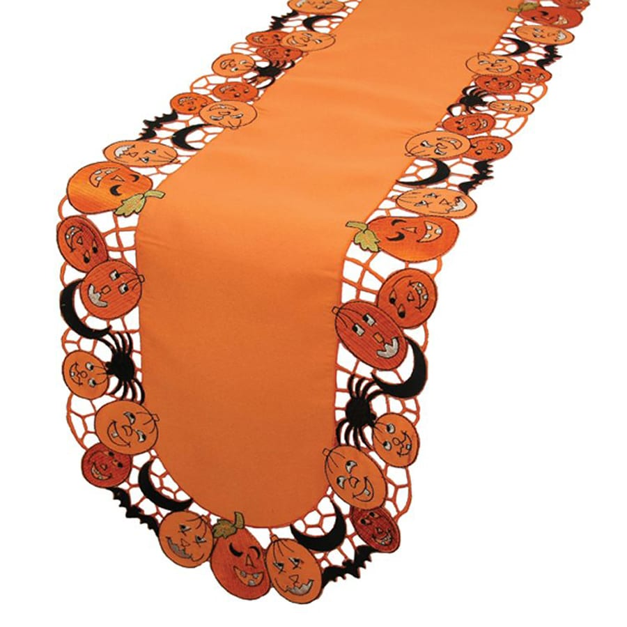 XIA Home Fashions Happy Jack-O-Lanterns Tabletop Jack-O-Lantern Table Runner
