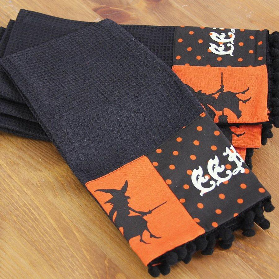 XIA Home Fashions Halloween Patchwork EEK! Various Dish Towel