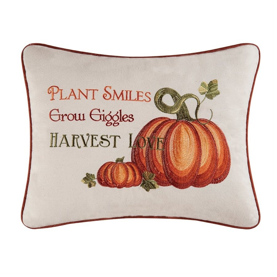 C&F Enterprises Embroidered Harvest Love Pumpkin Pillow Indoor Thanksgiving Decoration