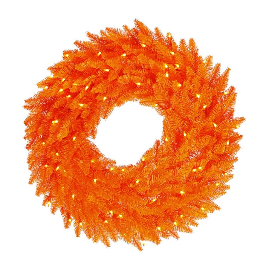 Northlight 36-in Pre-Lit Artificial Halloween Wreath with Orange Incandescent Lights