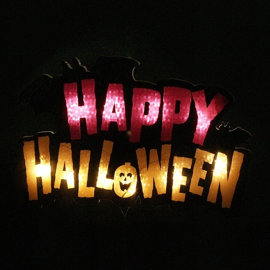 Northlight Pre-Lit Happy Halloween Hanging Novelty Light with Constant White Incandescent Lights