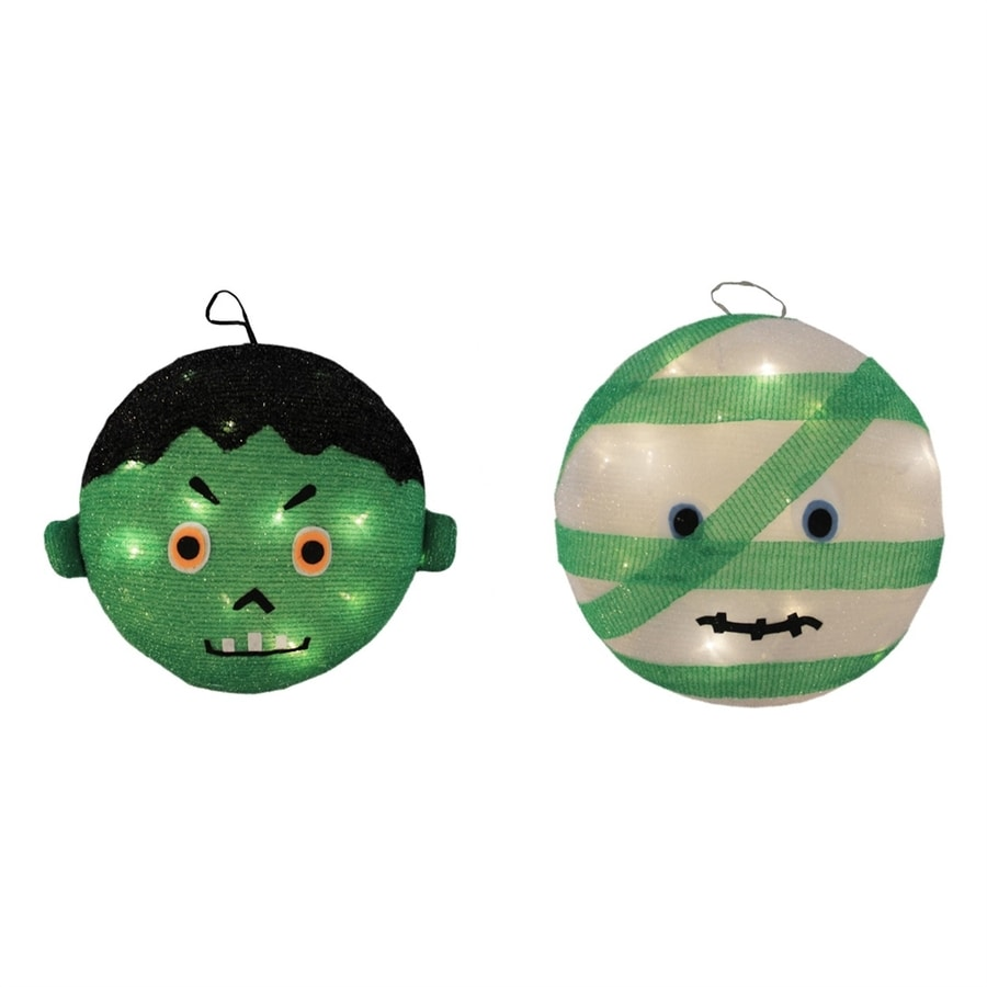 Northlight Pre-Lit Hanging Mummy & Frankenstein Novelty Lights with Constant White LED Lights