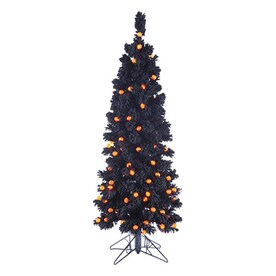 Northlight 4 5 Ft Whimsical Slim Artificial Tree Orange With Led Lights