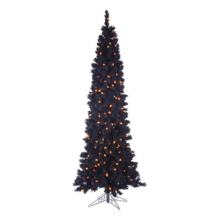 Northlight 6.5-ft Pre-Lit Slim Artificial Halloween Tree with Orange LED Lights