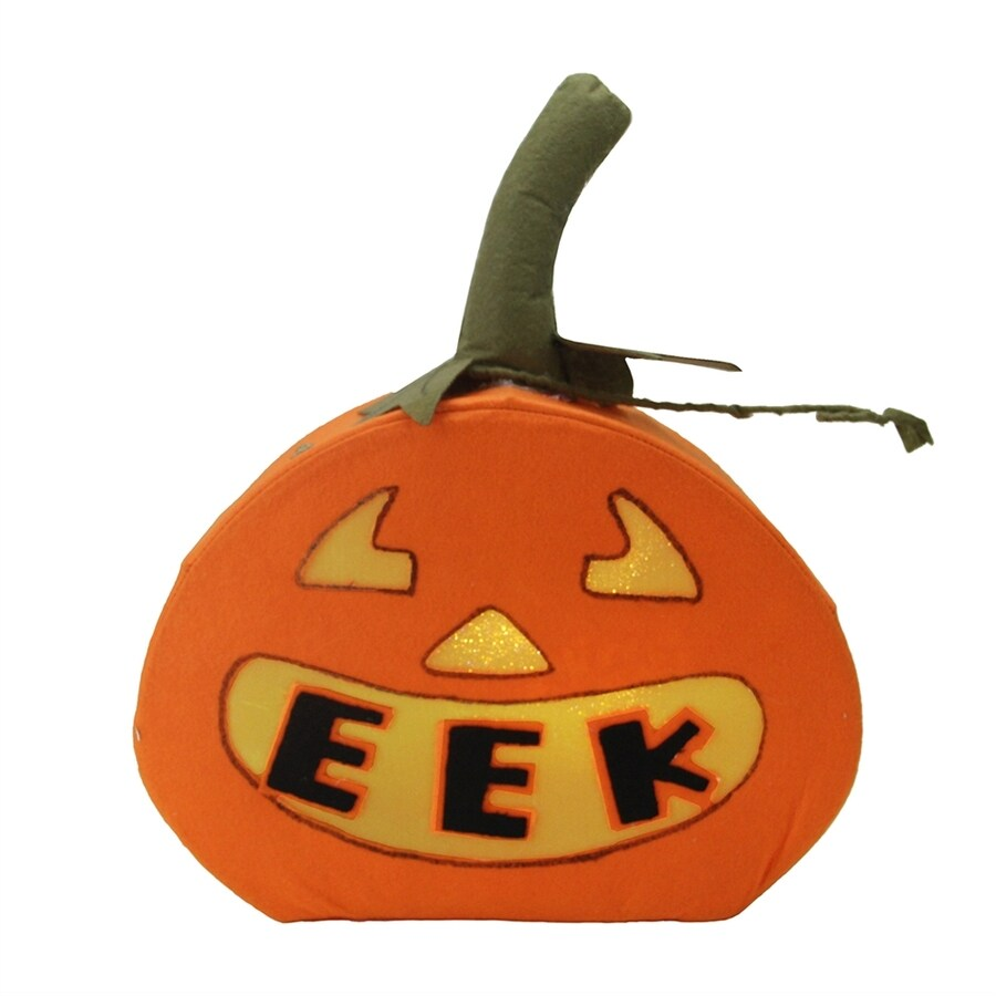 Northlight Pre-Lit Eek Pumpkin Figurine with Multi-function White LED Lights