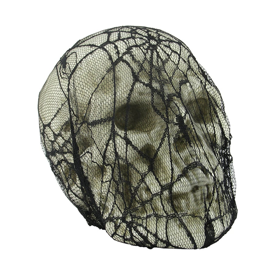 Northlight Tabletop Skull in Spider Web Lace