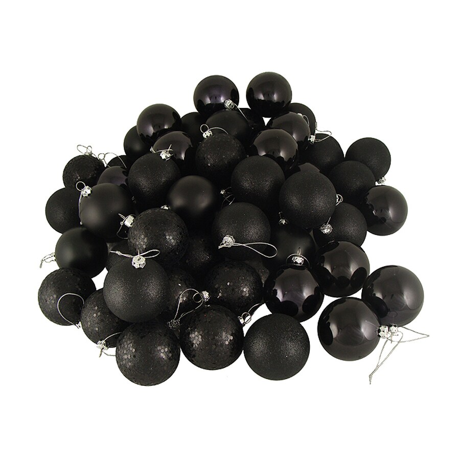 Northlight 3-in Jet Black Shatterproof Ball Ornaments (Set of 16)