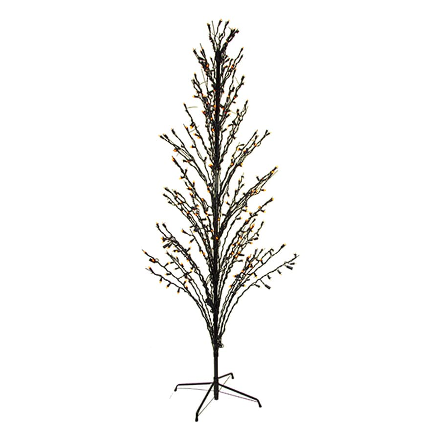 Northlight 6-ft Pre-Lit Twig Slim Artificial Halloween Tree with Orange LED Lights