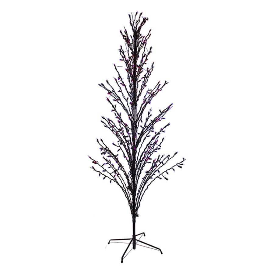 Northlight 6-ft Pre-Lit Twig Slim Artificial Halloween Tree with Purple LED Lights