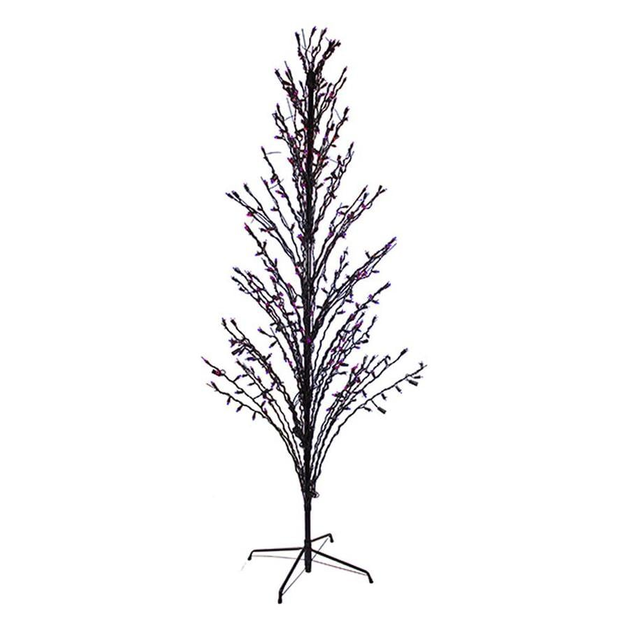 Northlight 4-ft Pre-Lit Twig Slim Artificial Halloween Tree with Purple LED Lights