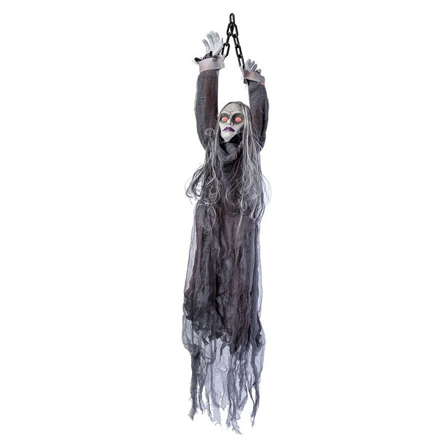 J. Marcus Animatronic Pre-Lit Musical Hanging Witch Figurine with Red Lights