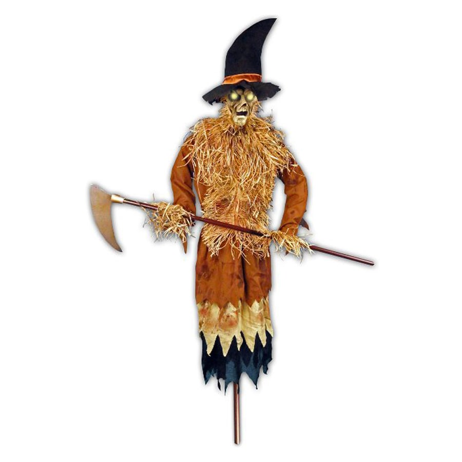 J. Marcus Animatronic Pre-Lit Musical Freestanding Scarecrow Figurinewith  Yellow Lights