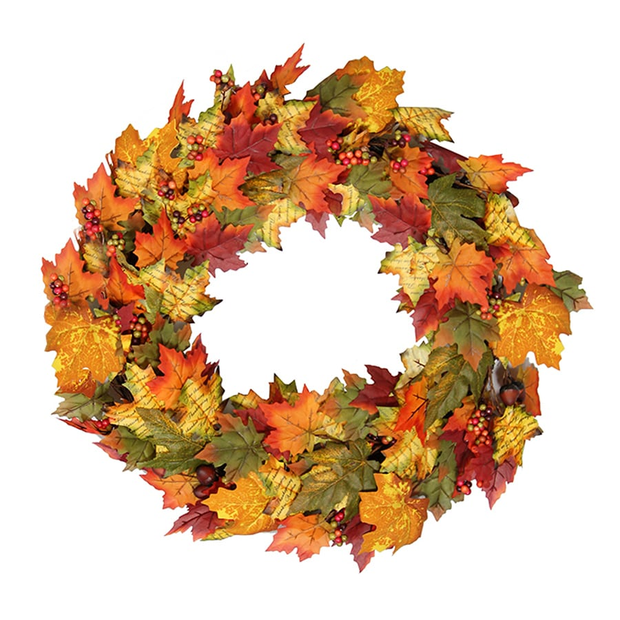 Northlight Autumn Blessings 24-in Unlit Indoor Leaf Artificial Thanksgiving Wreath