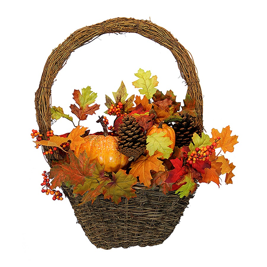 Northlight Autumn Harvest Unlit Indoor Artificial Thanksgiving Basket Wreath