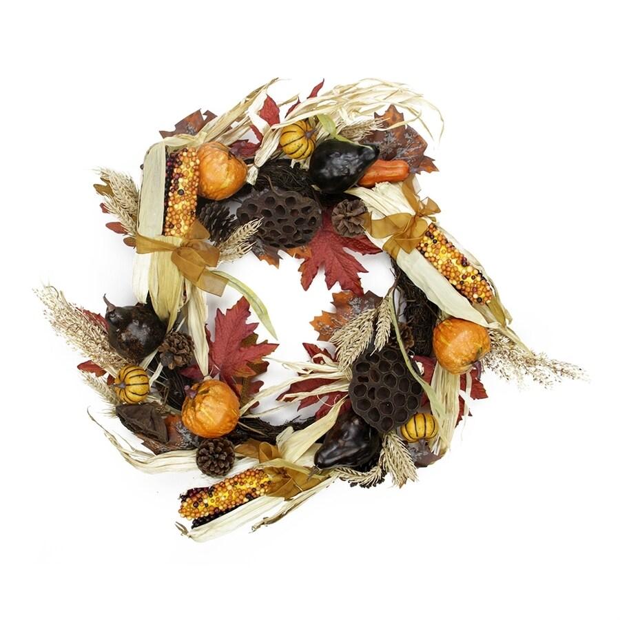 Northlight Autumn Corn and Harvest 28-in Unlit Indoor Gourd Artificial Thanksgiving Wreath