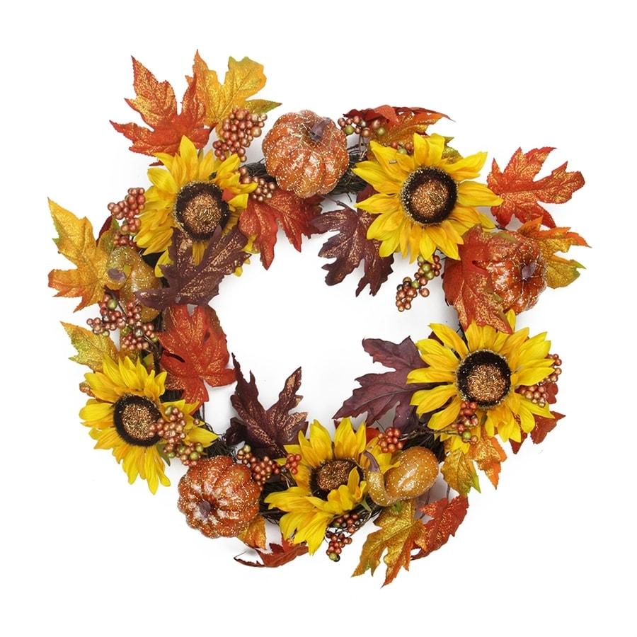 Northlight Harvest Sunflower and Pumpkin 22-in Unlit Indoor Leaf Artificial Thanksgiving Wreath