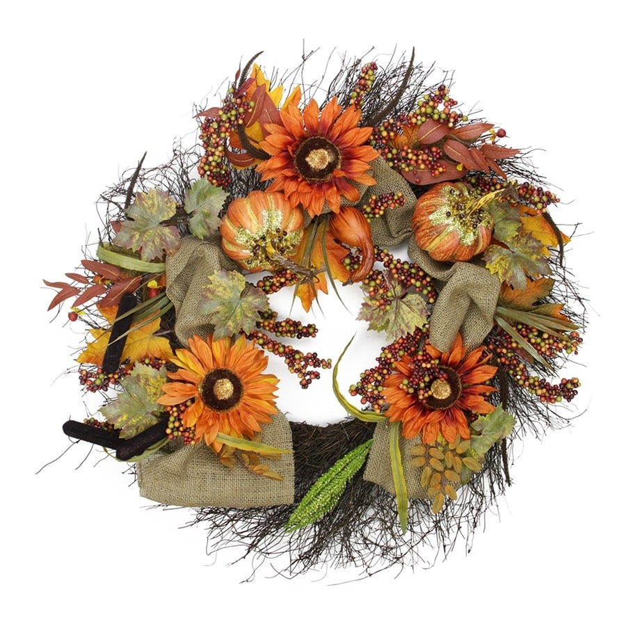 Northlight Harvest Sunflower and Pumpkin 31-in Unlit Indoor Flower Artificial Thanksgiving Wreath