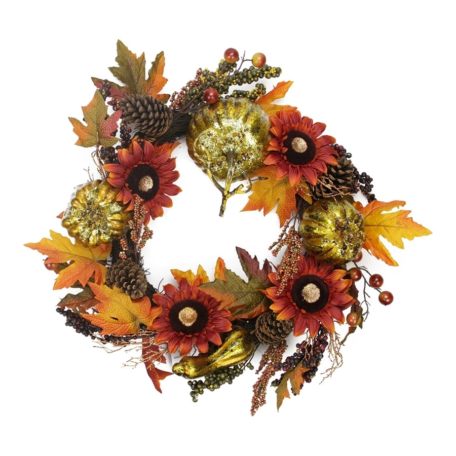 Northlight 24-in Unlit Indoor Flower Artificial Thanksgiving Wreath