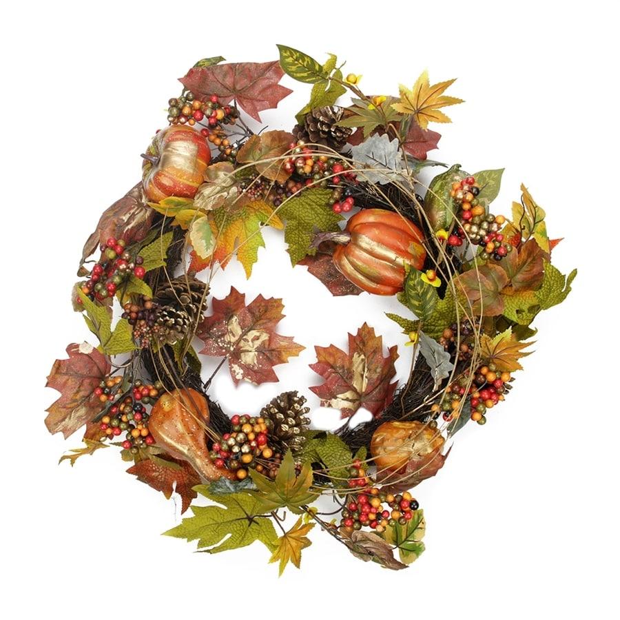 Northlight Harvest Pumpkin and Autumn Leaf 22-in Unlit Indoor Gourd Artificial Thanksgiving Wreath