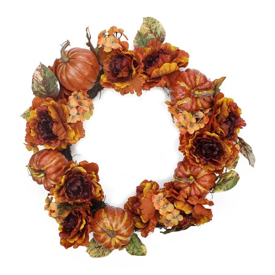 Northlight Autumn Floral 24-in Unlit Indoor Gourd Artificial Thanksgiving Wreath