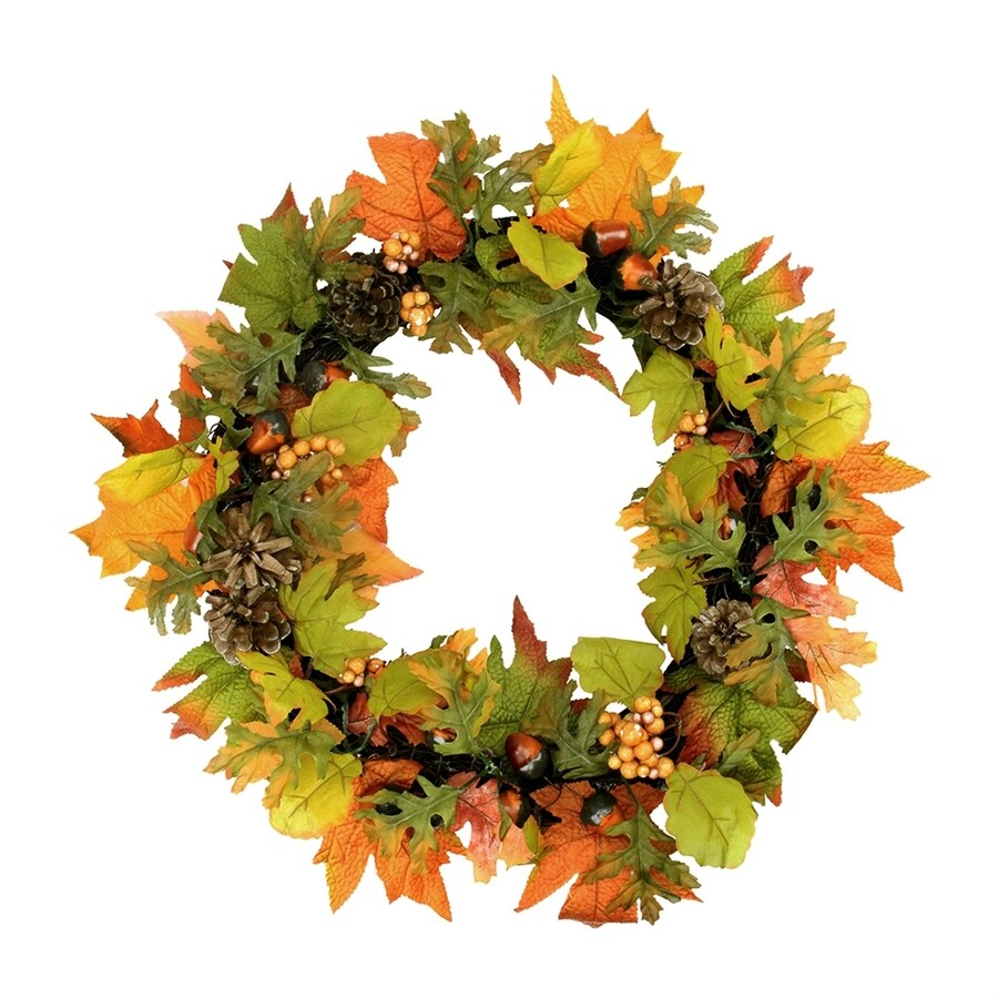 Northlight Autumn Harvest 20-in Unlit Indoor Leaf Artificial Thanksgiving Wreath